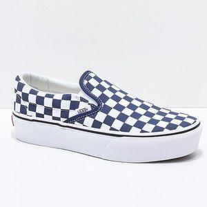 Vans Slip-On Checkerboard Platform Skate Shoe 7.5